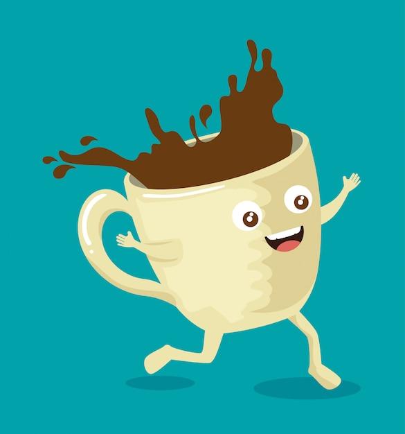 Heerlijk koffiekopje met gezicht Gratis Vector