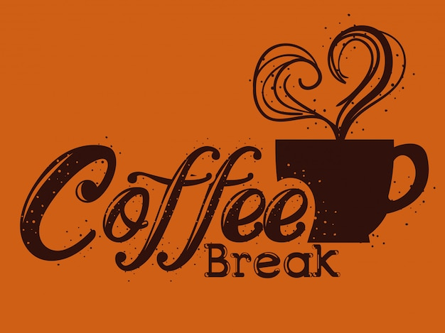 Heerlijk koffiepauzelabel Gratis Vector