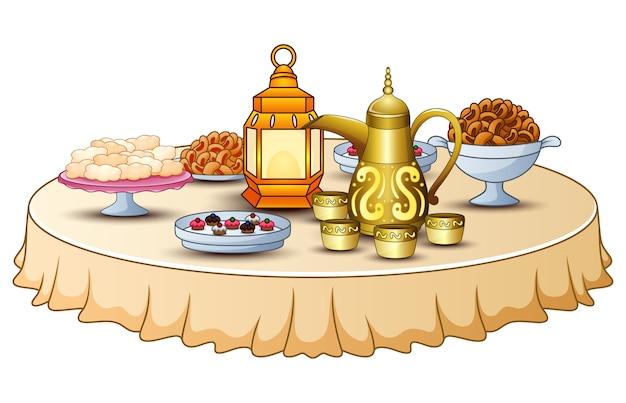 Heerlijk menu voor iftar-feest op tafel met lantaarn en gouden theepot Premium Vector