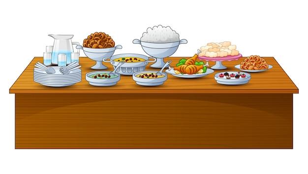 Heerlijk menu voor iftar-feest op tafel Premium Vector