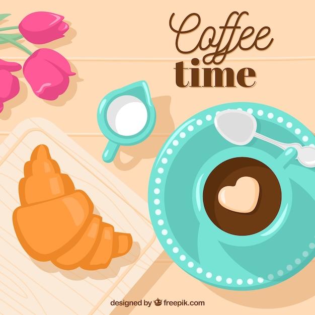 Heerlijk ontbijt achtergrond met een hart in de koffie Gratis Vector