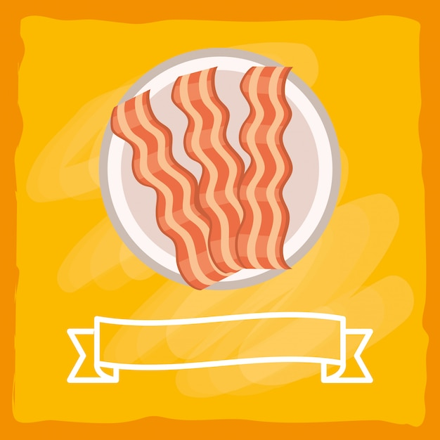 Heerlijk smakelijk baconbeeldverhaal Premium Vector