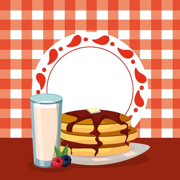 Heerlijk smakelijk ontbijt cartoon Premium Vector