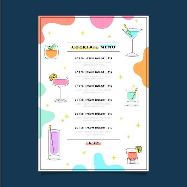 Heerlijk vers cocktailrestaurant menu Gratis Vector