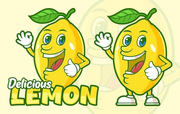 Heerlijke citroen fruit stripfiguur Premium Vector