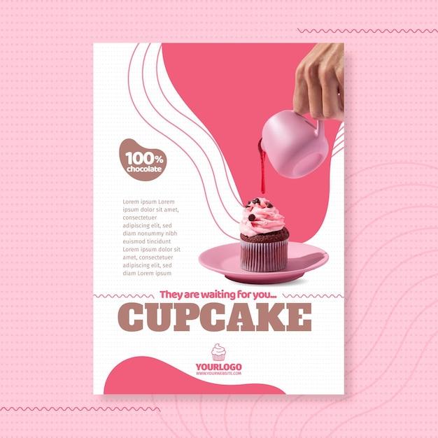 Heerlijke cupcake poster sjabloon Premium Vector