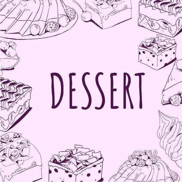 Heerlijke dessert handgetekende doodle vector illustratie Premium Vector