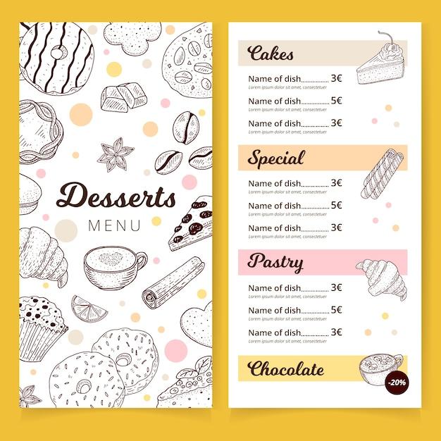 Heerlijke desserts menusjabloon Gratis Vector