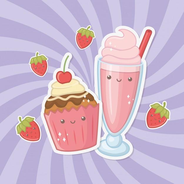Heerlijke en zoete milkshake en kawaiikarakters van producten Gratis Vector