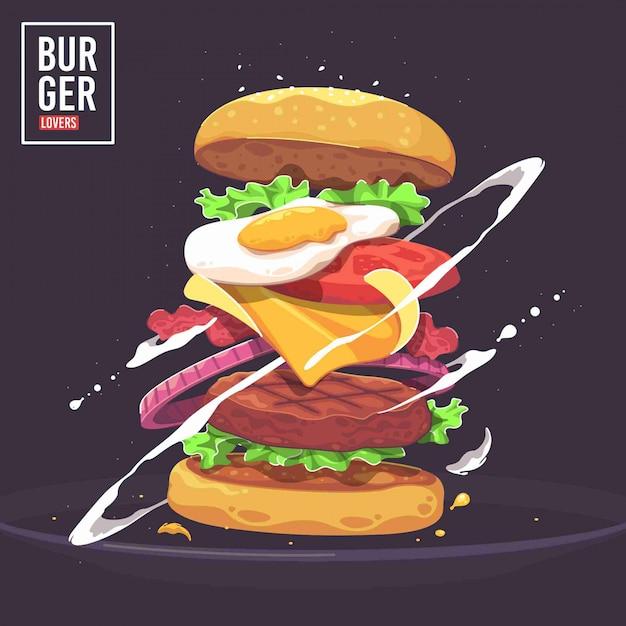 Heerlijke hamburger vectorillustratie Premium Vector