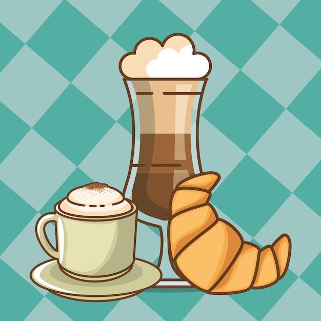Heerlijke koffie tijd elementen Gratis Vector