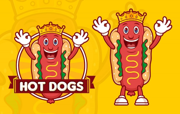 Heerlijke koning hotdogs logo sjabloon, met grappige stripfiguur Premium Vector