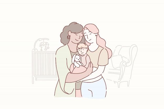 Heerlijke lesbische familie. twee volwassen vrouwen en kleine baby die zich thuis in de kinderkamer verenigen. Premium Vector