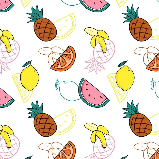 Heerlijke mix van fruit patroon sjabloon Gratis Vector