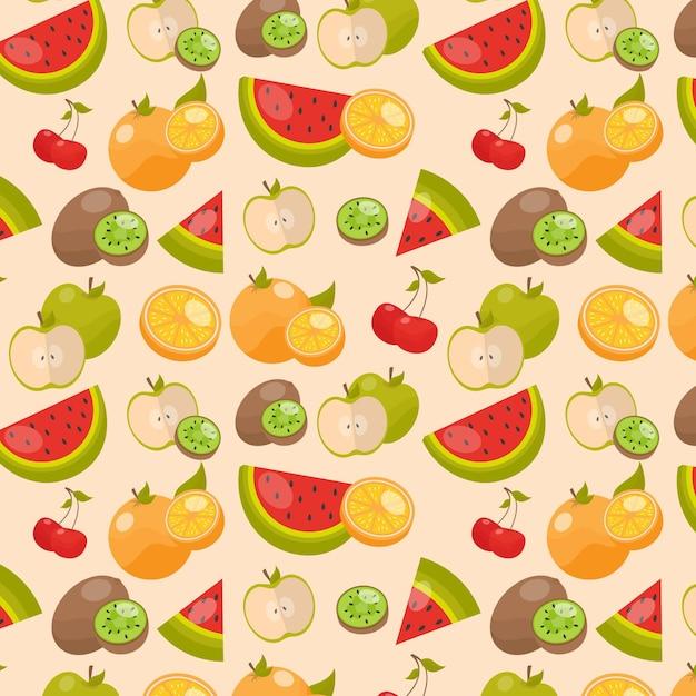 Heerlijke plakjes watermeloen en citrusvruchtenpatroon Gratis Vector