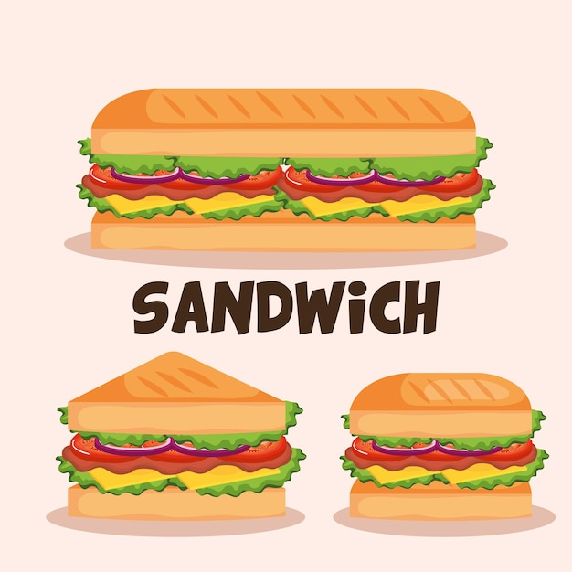 Heerlijke sandwich fast food stel pictogrammen Premium Vector