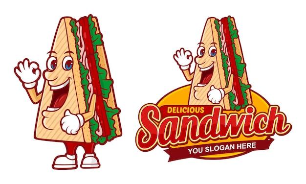 Heerlijke sandwich, logo sjabloon voor fast-food restaurant Premium Vector