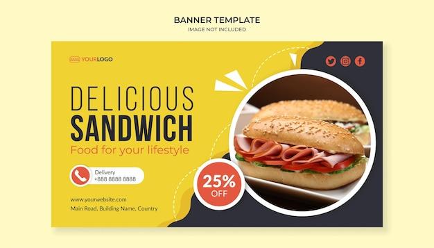 Heerlijke sandwich sjabloon voor spandoek voor fastfoodrestaurant Premium Vector