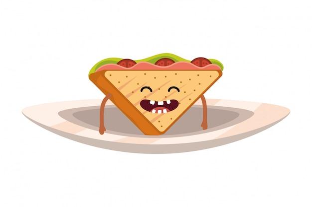 Heerlijke smakelijke sandwich cartoon Premium Vector