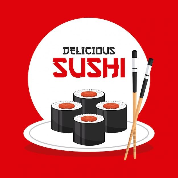 Heerlijke sushi Premium Vector