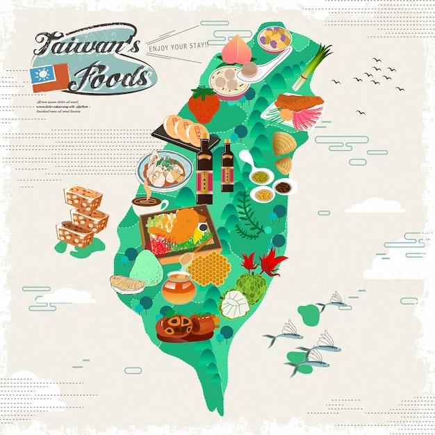 Heerlijke taiwan snacks reiskaart Premium Vector