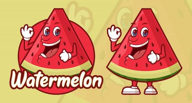 Heerlijke watermeloen cartoon, grappig karakter Premium Vector