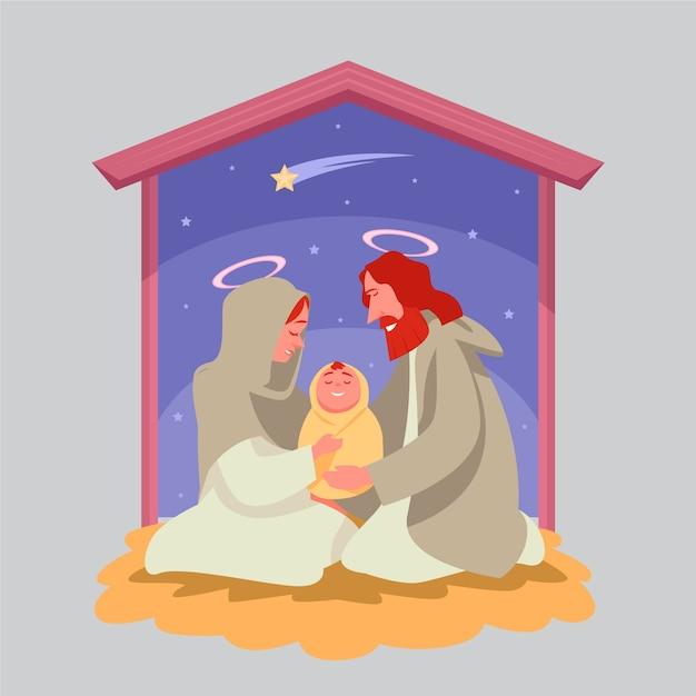 Heilige familie en gouden vallende ster Gratis Vector