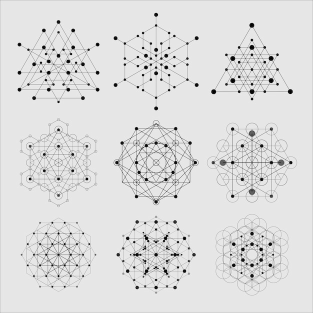 Heilige geometrie-elementen Premium Vector
