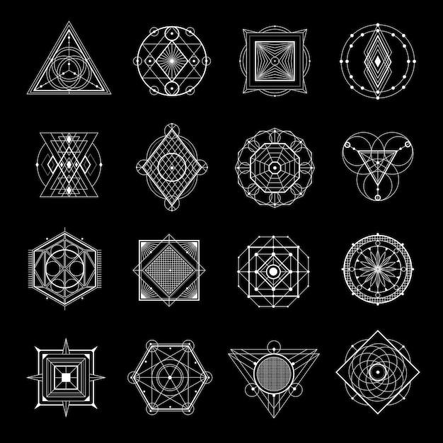 Heilige geometrie op zwarte set Gratis Vector
