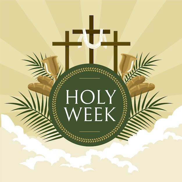 Heilige week illustratie met kruisen Gratis Vector