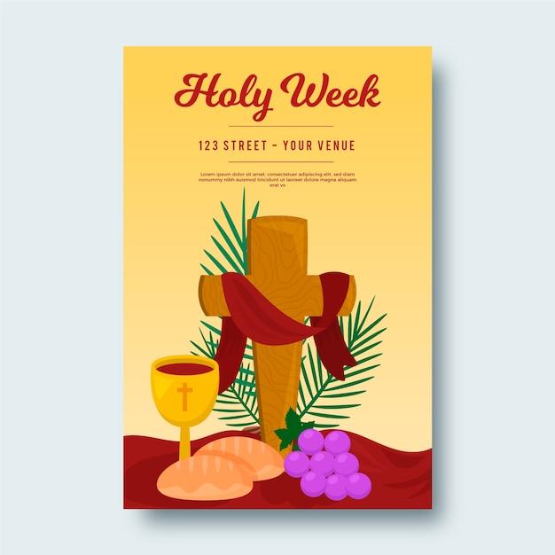 Heilige week poster sjabloon Gratis Vector
