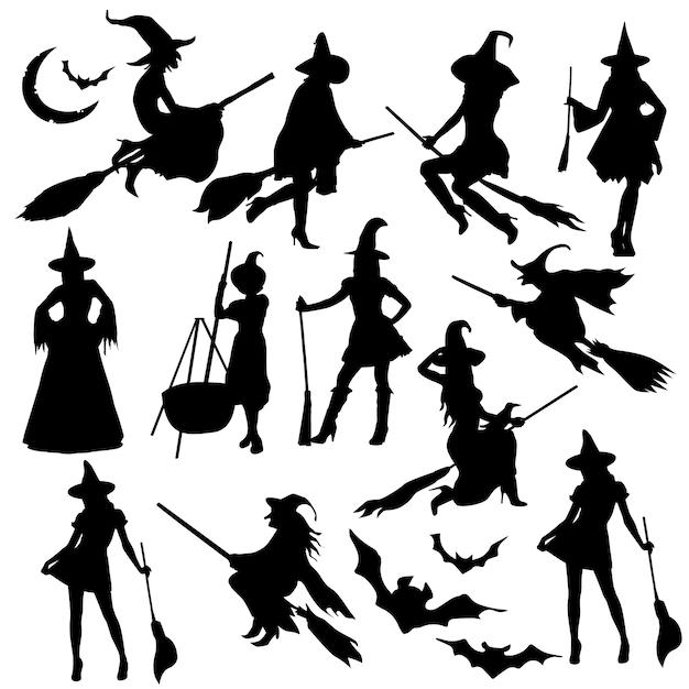 Heks halloween kostuum silhouet illustraties Premium Vector
