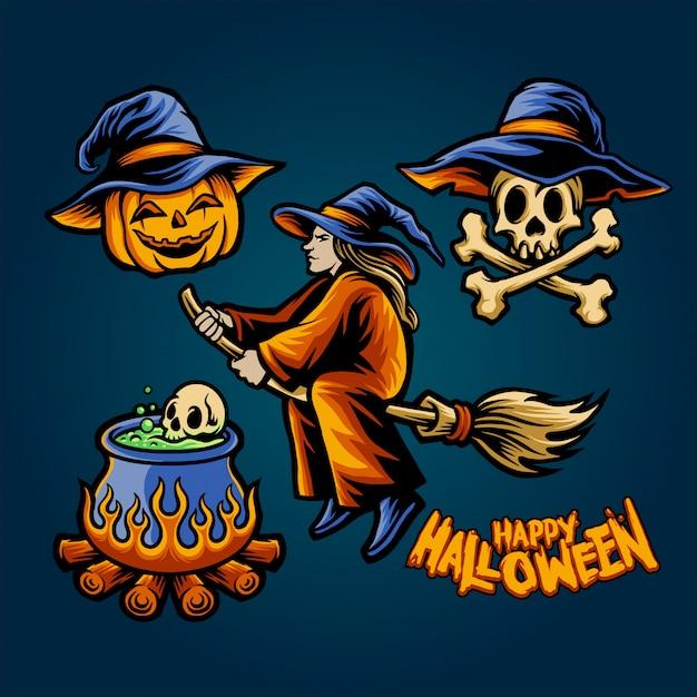 Heks halloween set Premium Vector