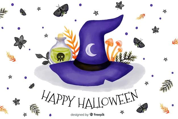 Heks hoed aquarel halloween achtergrond Gratis Vector