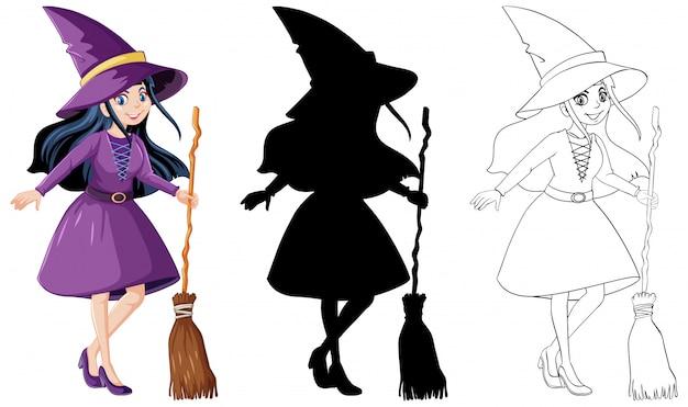 Heks met bezemsteel in kleur en omtrek en silhouet stripfiguur geïsoleerd Gratis Vector