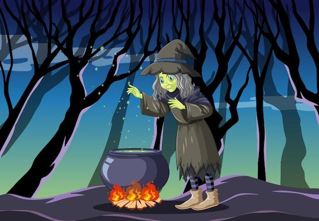 Heks met zwarte magische pot cartoon-stijl op donkere jungle Gratis Vector