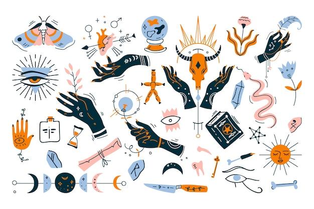 Hekserij doodle set. verzameling van minimalistische designelementen op wit Premium Vector