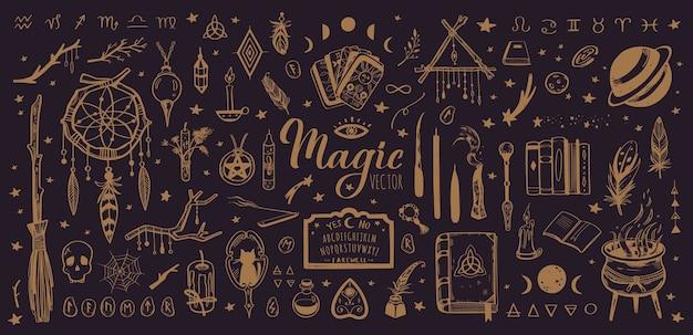 Hekserij en magische vintage collectie met geïsoleerde occulte illustratie Premium Vector