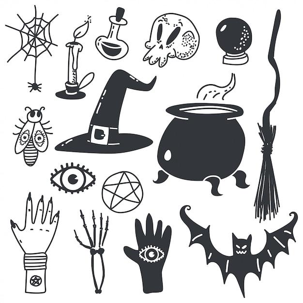 Hekserij symbolen voor halloween. magische cartoon pictogrammen instellen geïsoleerd op wit. Premium Vector