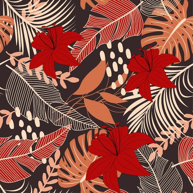 Helder abstract naadloos patroon met kleurrijke tropische bladeren en bloemen op bruin Premium Vector