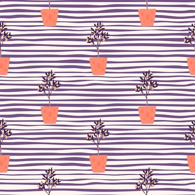 Helder decor naadloos patroon met kamerplanten. interiot botanisch ornament met oranje potten op paarse gestripte achtergrond Premium Vector