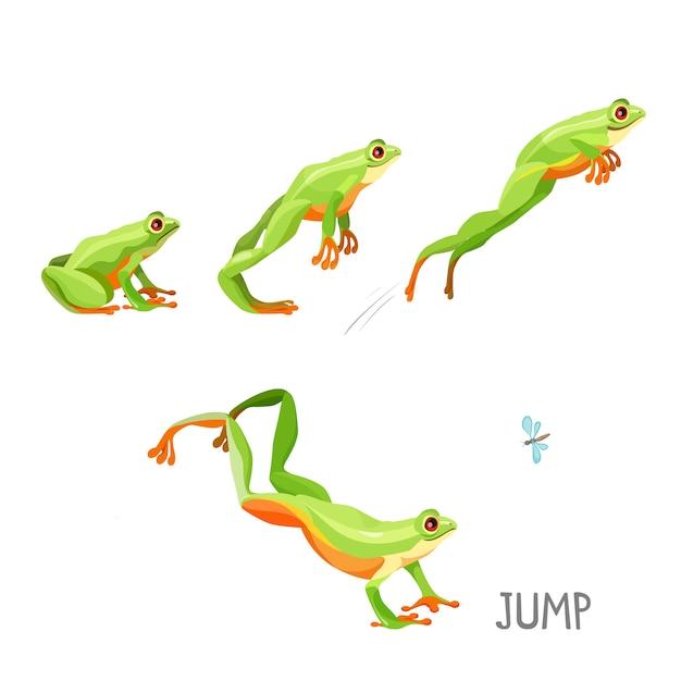 Helder gekleurde kikker springende cartoon Premium Vector
