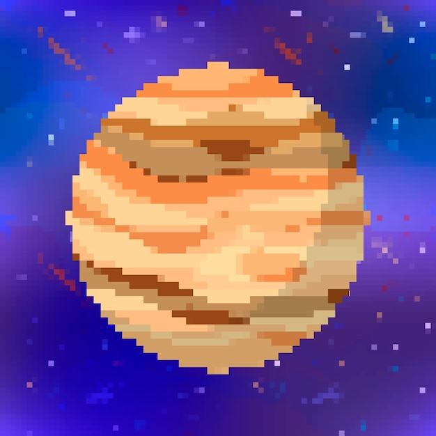 Helder glanzend jupiter schattige planeet in pixel kunststijl op ruimte achtergrond Premium Vector