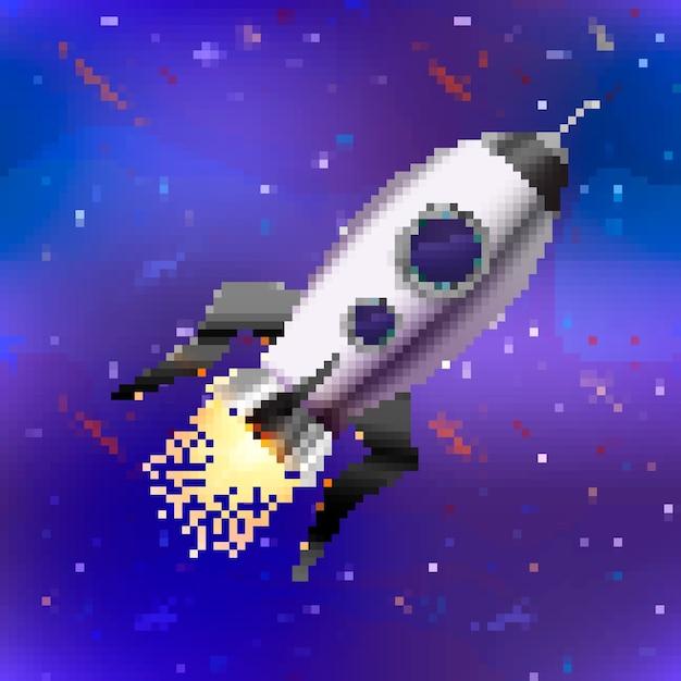 Helder glanzend ruimteschip schattige raket in pixel art stijl op ruimte achtergrond Premium Vector
