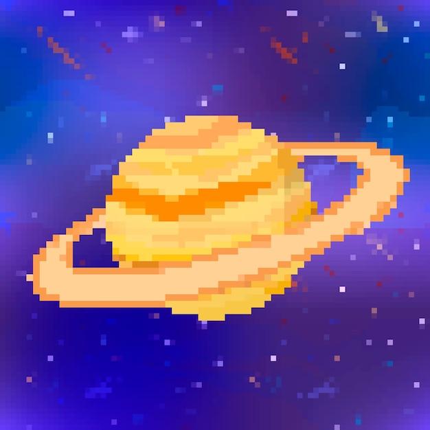 Helder glanzend saturnus schattige planeet in pixel art stijl op ruimte achtergrond Premium Vector