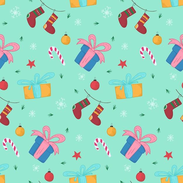 Helder kerstpatroon met geschenken en kousen Premium Vector