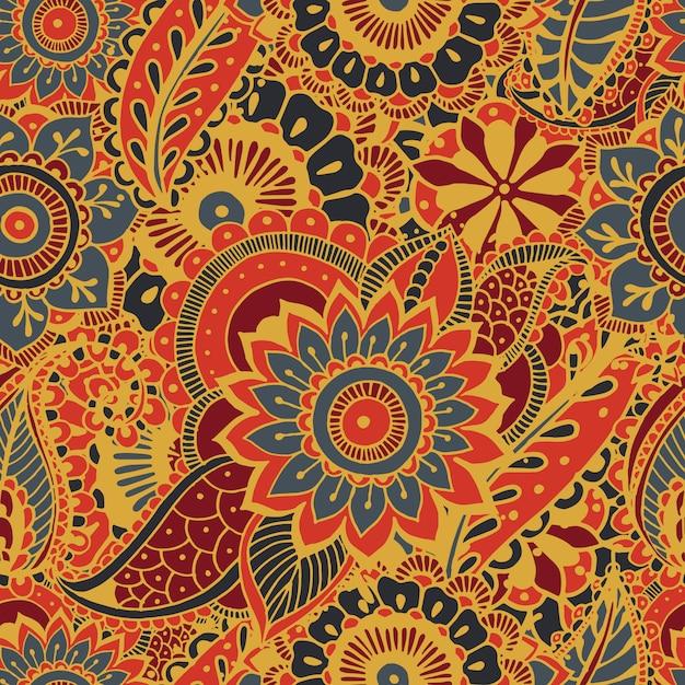 Helder naadloos patroon met paisley mehndi-elementen. hand getekend behang met bloemen traditionele indiase sieraad. kleurrijke achtergrond. Premium Vector