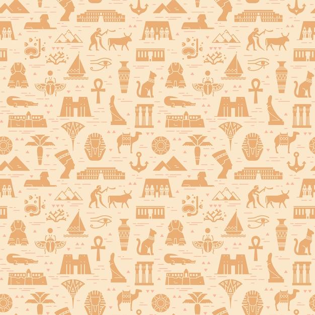 Helder naadloos patroon van symbolen, oriëntatiepunten en tekens van egypte Premium Vector