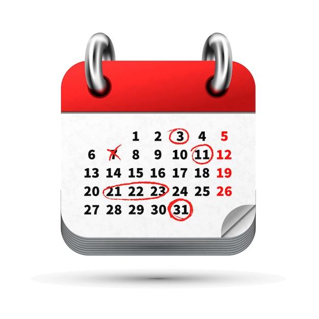 Helder realistisch pictogram van maandkalender met rode markeringen op datums geïsoleerd op wit Premium Vector