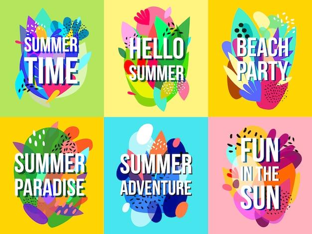 Heldere abstracte zomer verkoop banners collectie Gratis Vector